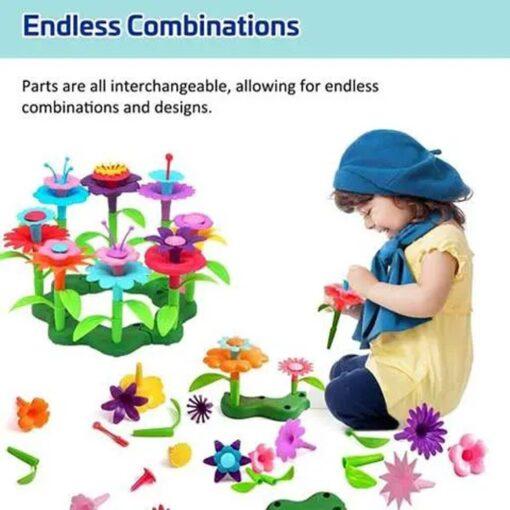 Building Toys Bouquet Floral Arrangement Block Playset Garden Building Toy Arrangement Educational Toy Kids Flower Interlo 8