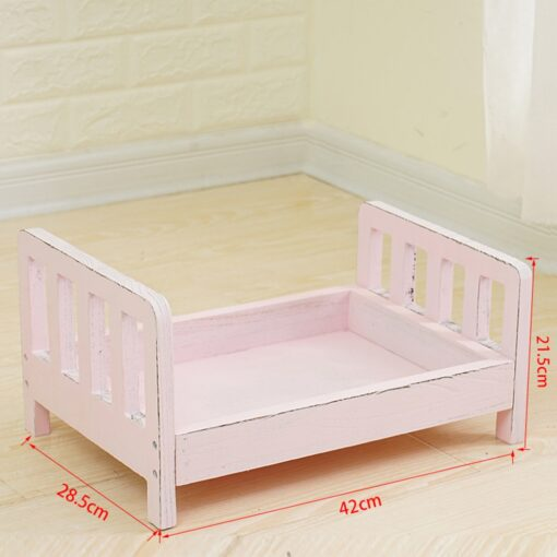 CYSINCOS Newborn Photography Props Posing Wood Bed Baby Photography Props Photo Studio Crib Props For Photo 5