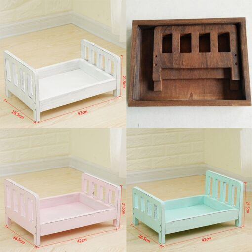 CYSINCOS Newborn Photography Props Posing Wood Bed Baby Photography Props Photo Studio Crib Props For Photo