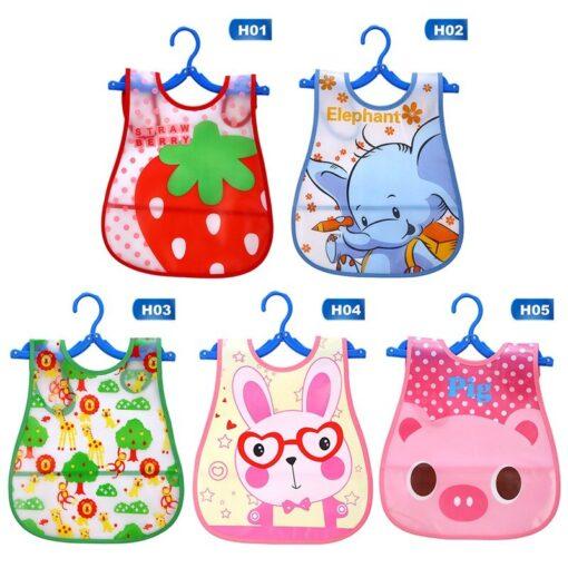 Cartoon Animal Printed Baby Bibs EVA Waterproof Newborn Bandanas Feeding Baby Burp Cloths Girls Boys Saliva 2