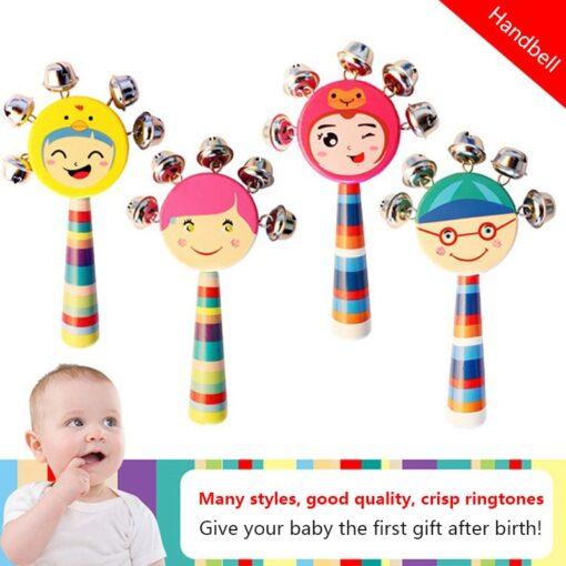 Cartoon Baby Bell Vocal Rattle Rainbow Toy kid Pram Crib Handle Stick Wooden Activity Bell Stick 1