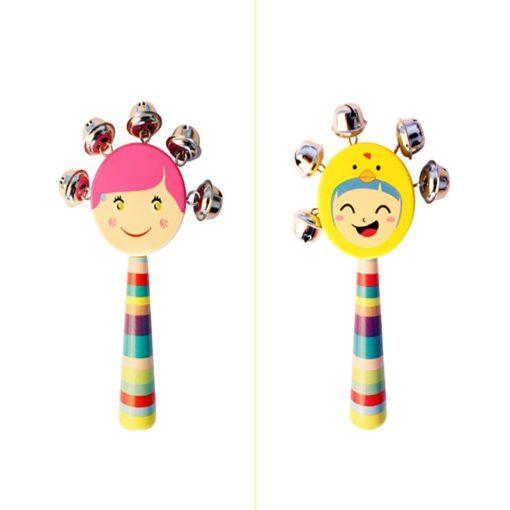 Cartoon Baby Bell Vocal Rattle Rainbow Toy kid Pram Crib Handle Stick Wooden Activity Bell Stick 3
