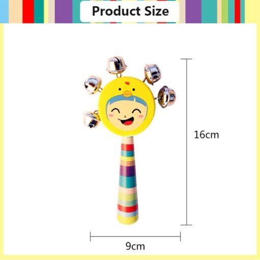 Cartoon Baby Bell Vocal Rattle Rainbow Toy kid Pram Crib Handle Stick Wooden Activity Bell Stick 4