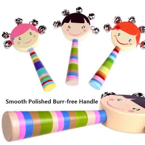Cartoon Baby Bell Vocal Rattle Rainbow Toy kid Pram Crib Handle Stick Wooden Activity Bell Stick