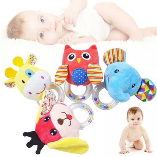 Cartoon Baby Plush Rattle Ring Bell Animal Hand Bell Baby Crib Mobile Bed Educational Plush Rattle 1