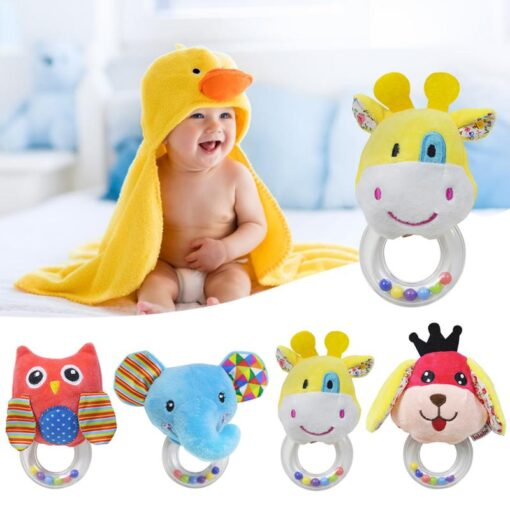 Cartoon Baby Plush Rattle Ring Bell Animal Hand Bell Baby Crib Mobile Bed Educational Plush Rattle