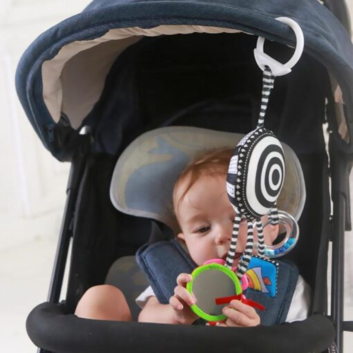 Cartoon Baby Rattles Toys Bed Stroller Accessory Mobile Hanging Plush Toys for Children Safety Mirror Ring 2