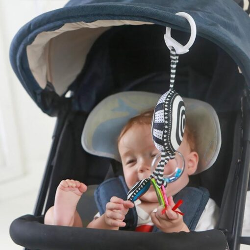 Cartoon Baby Rattles Toys Bed Stroller Accessory Mobile Hanging Plush Toys for Children Safety Mirror Ring 4