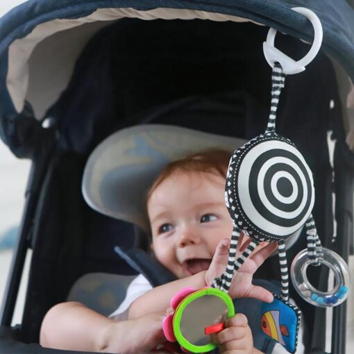 Cartoon Baby Rattles Toys Bed Stroller Accessory Mobile Hanging Plush Toys for Children Safety Mirror Ring