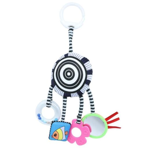 Cartoon Baby Rattles Toys Bed Stroller Accessory Mobile Hanging Plush Toys for Children Safety Mirror Ring 6