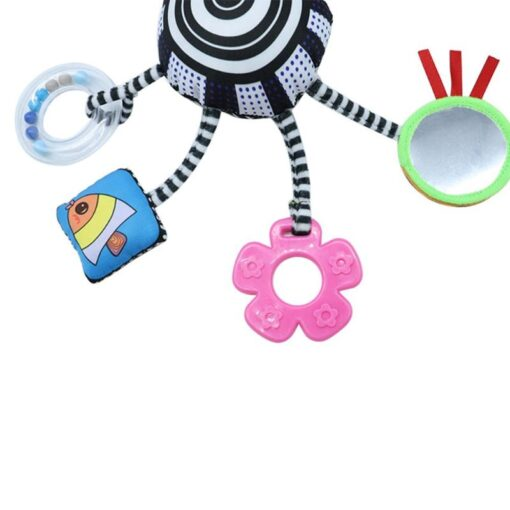 Cartoon Baby Rattles Toys Bed Stroller Accessory Mobile Hanging Plush Toys for Children Safety Mirror Ring 9