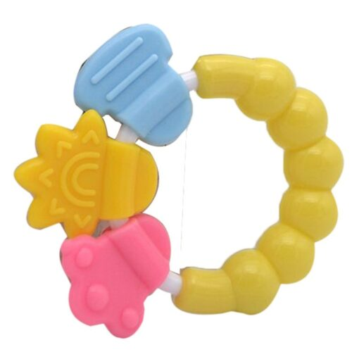Cartoon Baby Teether Educational Mobiles Toys Teeth Biting Baby Rattle Toy Bed Bell Silicone Handbell Jingle 3