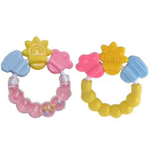 Cartoon Baby Teether Educational Mobiles Toys Teeth Biting Baby Rattle Toy Bed Bell Silicone Handbell Jingle 5