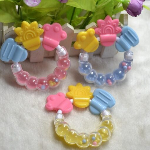 Cartoon Baby Teether Educational Mobiles Toys Teeth Biting Baby Rattle Toy Bed Bell Silicone Handbell Jingle