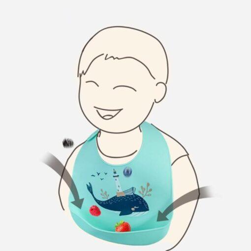 Cartoon Silicone Stereo Baby Bibs Animal Patten Adjustable Saliva Bandana Waterproof Kids Feeding Apron Foldable Accessories 5