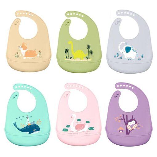 Cartoon Silicone Stereo Baby Bibs Animal Patten Adjustable Saliva Bandana Waterproof Kids Feeding Apron Foldable Accessories
