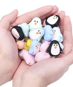 Chenkai 10pcs Silicone Teether Beads DIY Unicorn Star Penguin Flower Koala Flamingo Baby Teething Sensory Jewelry 1