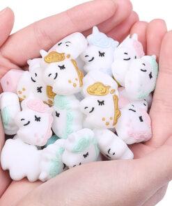 Chenkai 10pcs Silicone Teether Beads DIY Unicorn Star Penguin Flower Koala Flamingo Baby Teething Sensory Jewelry 2