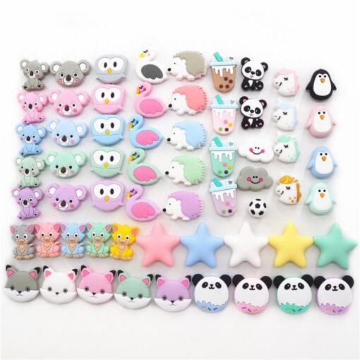 Chenkai 10pcs Silicone Teether Beads DIY Unicorn Star Penguin Flower Koala Flamingo Baby Teething Sensory Jewelry