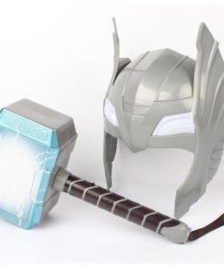Child Cosplay The 2 Thor LED light luminous sounding Helmet Weapon hammer quake model toy Costume