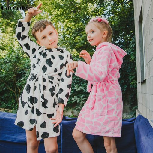 Children Bath Robes Flannel Winter Kids Sleepwear Robe Infant Pijamas Nightgown For Boys Girls Pajamas 10 1