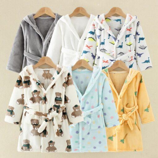 Children Bath Robes Flannel Winter Kids Sleepwear Robe Infant Pijamas Nightgown For Boys Girls Pajamas 10