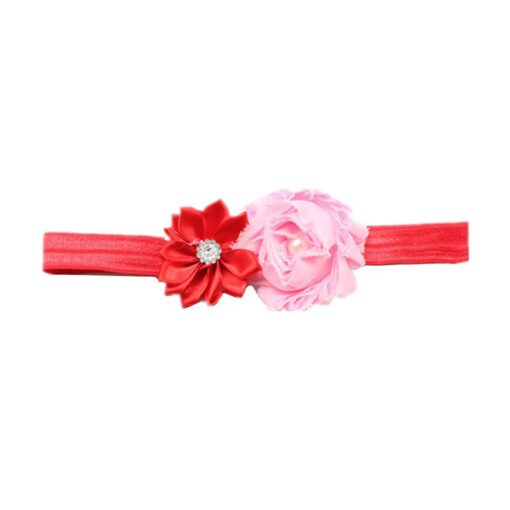 Children Hair Accessories With Diamonds Multi Angled Flowers Shabby Flowers Baby Hair Band Elastic Hair Band 1