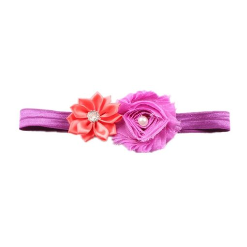 Children Hair Accessories With Diamonds Multi Angled Flowers Shabby Flowers Baby Hair Band Elastic Hair Band 3