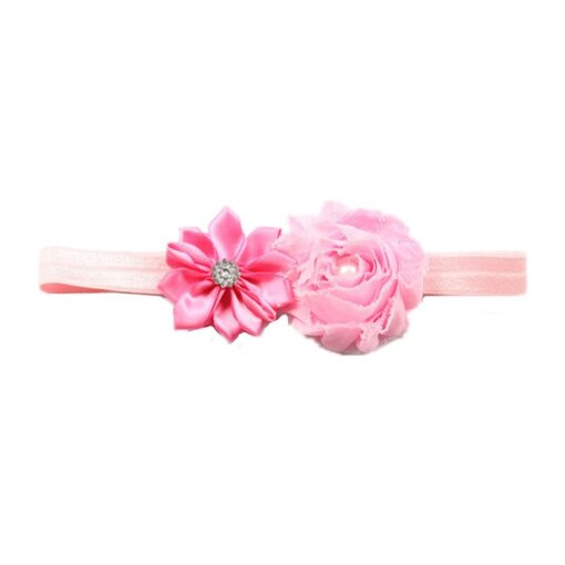 Children Hair Accessories With Diamonds Multi Angled Flowers Shabby Flowers Baby Hair Band Elastic Hair Band 5