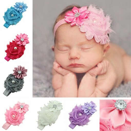 Children Hair Accessories With Diamonds Multi Angled Flowers Shabby Flowers Baby Hair Band Elastic Hair Band