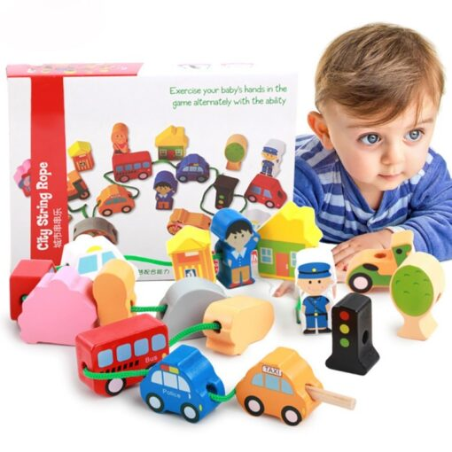Children Kids Wooden Stick Stacking Puzzle Building String Blocks Board Educational Toy 1 Set 1
