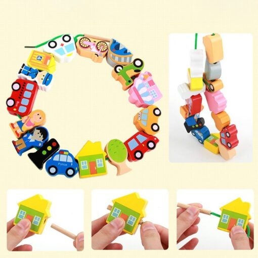 Children Kids Wooden Stick Stacking Puzzle Building String Blocks Board Educational Toy 1 Set 2