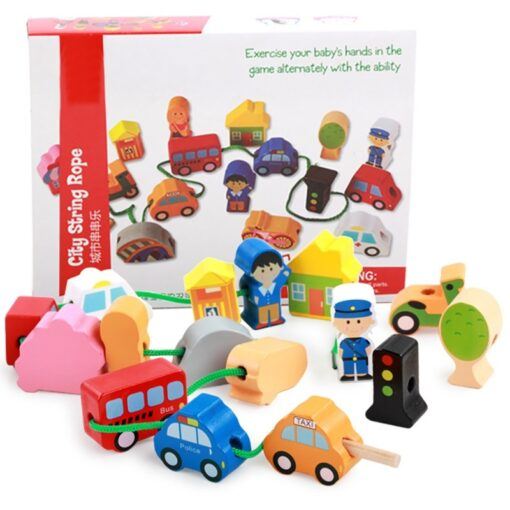 Children Kids Wooden Stick Stacking Puzzle Building String Blocks Board Educational Toy 1 Set 3