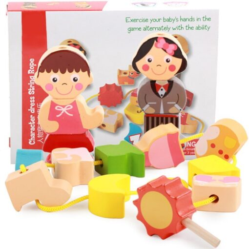 Children Kids Wooden Stick Stacking Puzzle Building String Blocks Board Educational Toy 1 Set 4