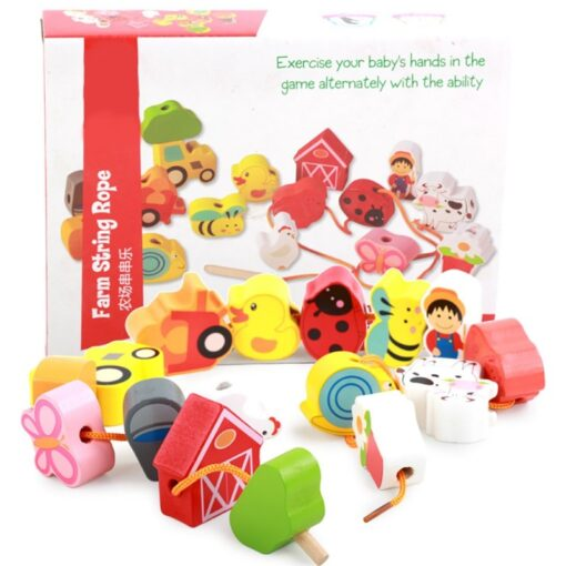 Children Kids Wooden Stick Stacking Puzzle Building String Blocks Board Educational Toy 1 Set