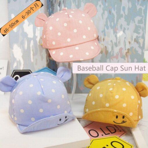 Children Sun Hats Toddler Cap Cute Baseball Cap Cotton Cute Polka Dot Sun Hat Mesh Breathable