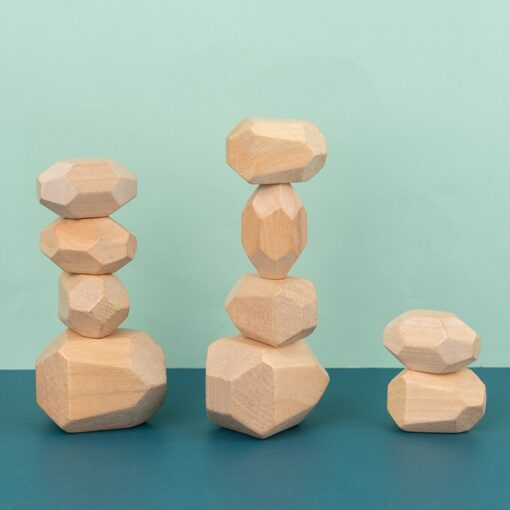Children Wood Colored Stone Jenga Construction Educational Toys Creative Nordic Style Stacking Game Rainbow Wood Toys 14