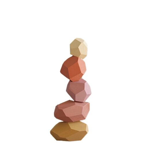 Children Wood Colored Stone Jenga Construction Educational Toys Creative Nordic Style Stacking Game Rainbow Wood Toys 2