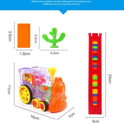 Children s Domino Train Car kit With Sound Light Automatic Emission Set Up Blocks Elevator Springboard 14