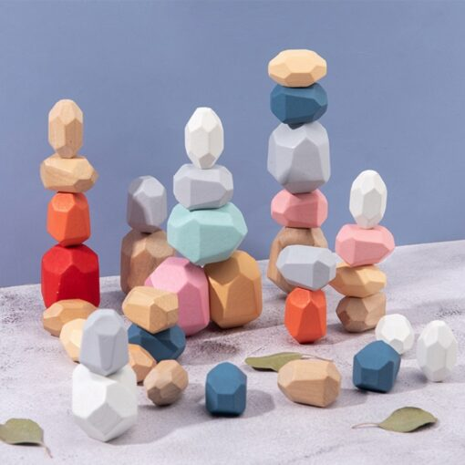 Children s Wooden Colored Stone Jenga Building Block Educational Toy Creative Nordic Style Stacking Game Rainbow 15
