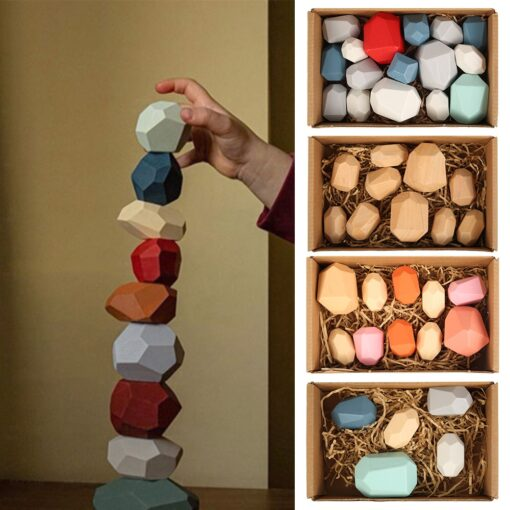 Children s Wooden Colored Stone Jenga Building Block Educational Toy Creative Nordic Style Stacking Game Rainbow 21