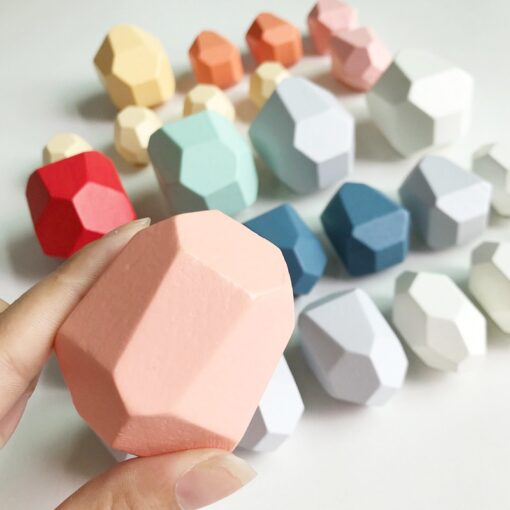 Children s Wooden Toys Colorful Stone Educational Toys Early Learning Wooden Jenga Building Block Nordic Style 2