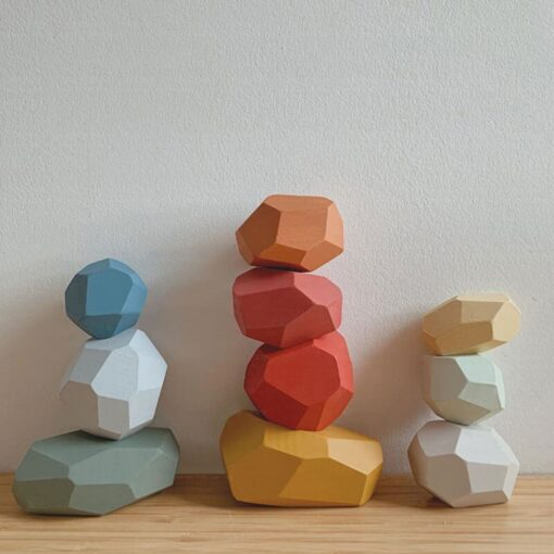 Children s Wooden Toys Colorful Stone Educational Toys Early Learning Wooden Jenga Building Block Nordic Style 4