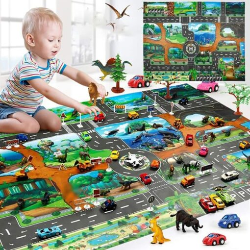 Childrens Toys Carry Game Pad 130x100 83x57cm Dinosaur World Traffic Parking Lot Funny Novelty Kids Toys 15