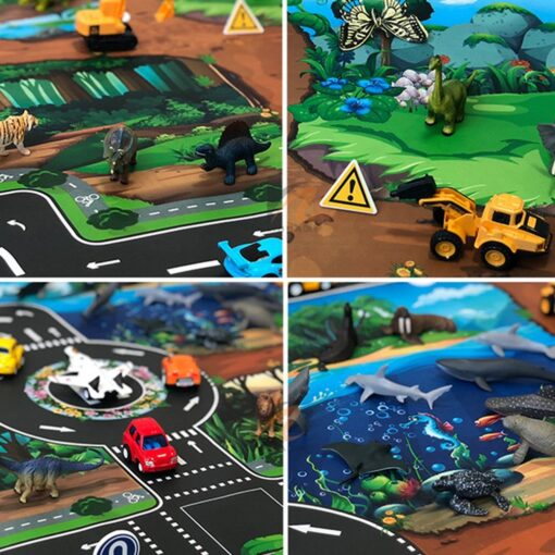 Childrens Toys Carry Game Pad 130x100 83x57cm Dinosaur World Traffic Parking Lot Funny Novelty Kids Toys 16
