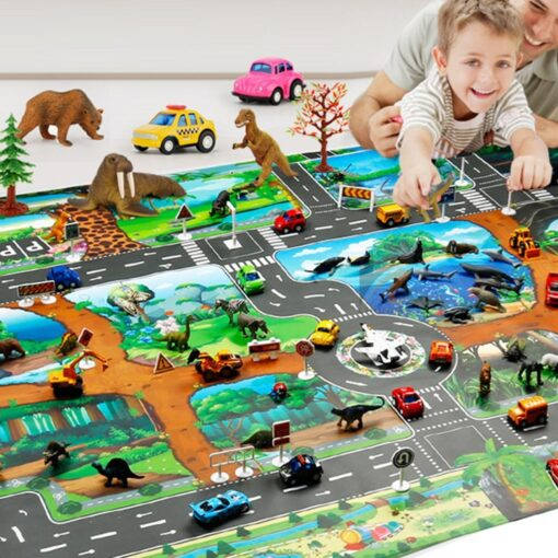 Childrens Toys Carry Game Pad 130x100 83x57cm Dinosaur World Traffic Parking Lot Funny Novelty Kids Toys 18