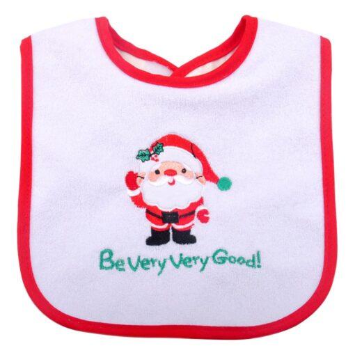 Christmas Baby Bib Pinny Fashionable Embroidered Pattern Saliva Towel Newborn Baby Waterproof Bib 1