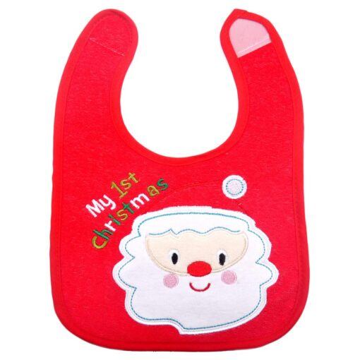 Christmas Baby Bib Pinny Fashionable Embroidered Pattern Saliva Towel Newborn Baby Waterproof Bib 2