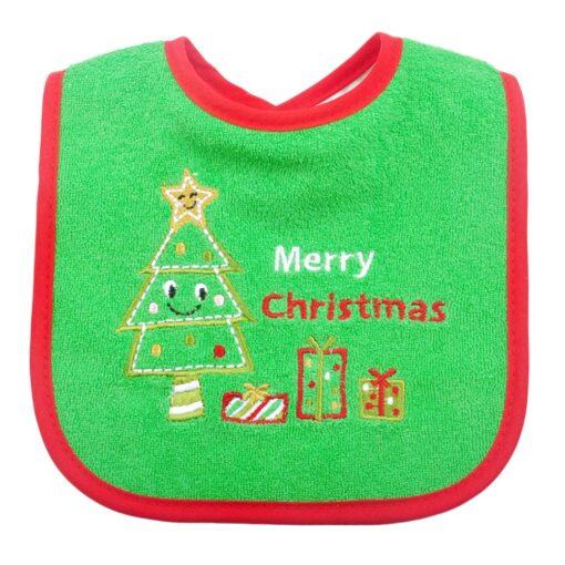 Christmas Baby Bib Pinny Fashionable Embroidered Pattern Saliva Towel Newborn Baby Waterproof Bib 3