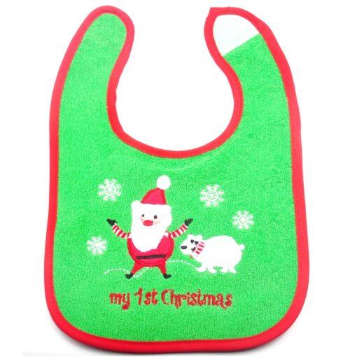 Christmas Baby Bib Pinny Fashionable Embroidered Pattern Saliva Towel Newborn Baby Waterproof Bib 5